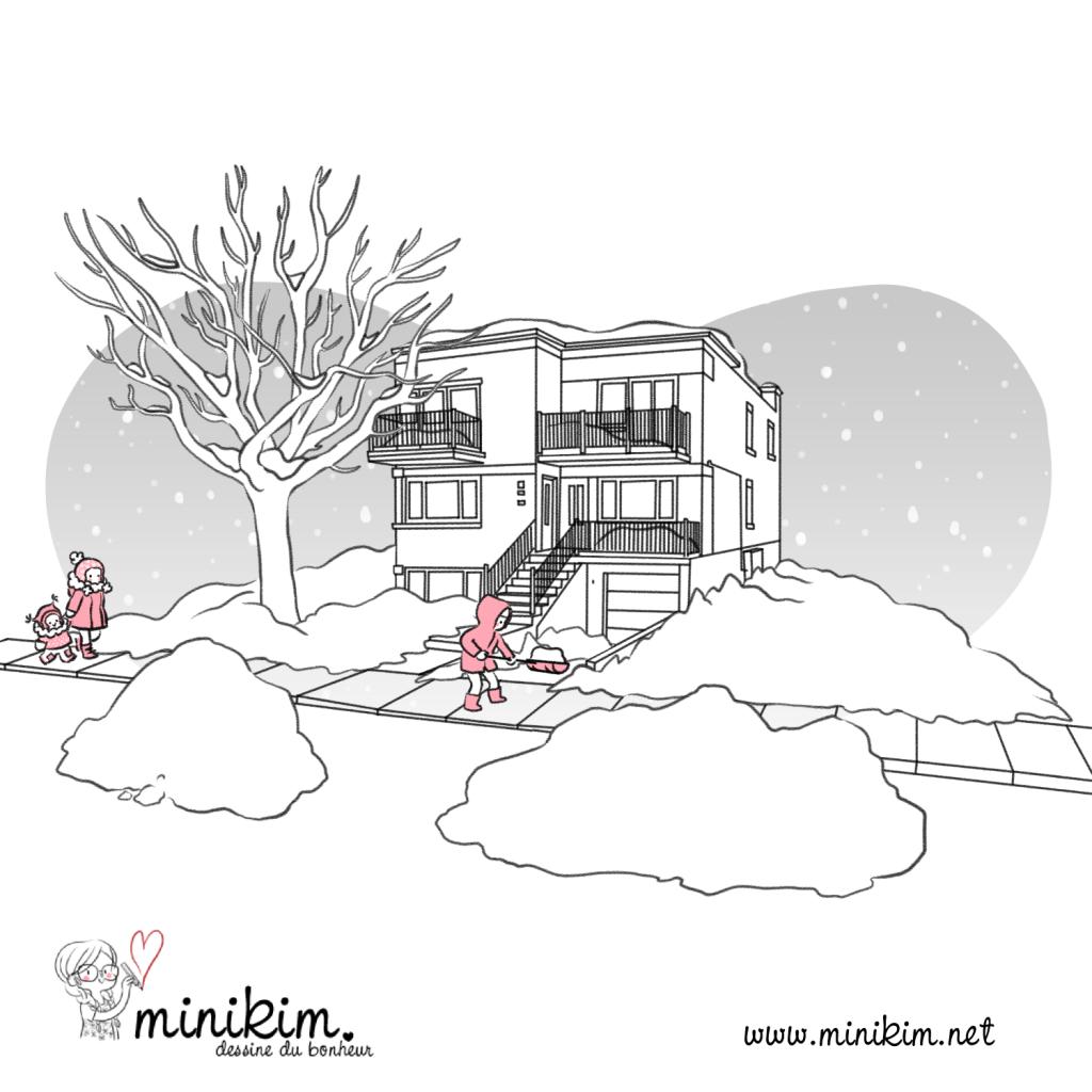 Première neige, blog BD, Neige à Montréal, neige au Québec, nouvelle neige, duplex Montréal, rues de Montréal, Mercier ouest, Quartier NDV, Le carré NDV, Vivre à Montréal, en famille à Montréal, mère et fille, promenade