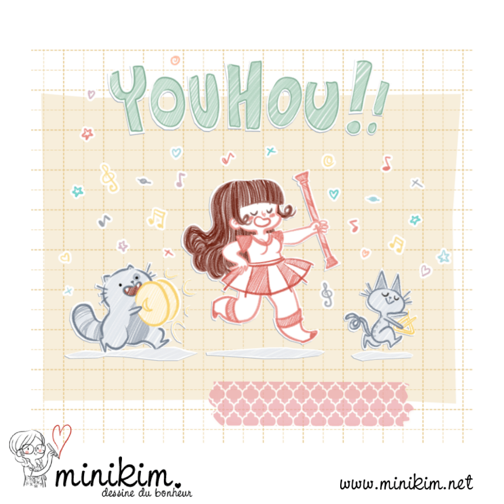 30 ans 2 chats, illustration, Bande dessinée, La Lettre Dessinée, cute, illustration jeunesse, pastel, couleurs, pom pom girl, chats, chat musicien, Montréal, Minikim, washi tape