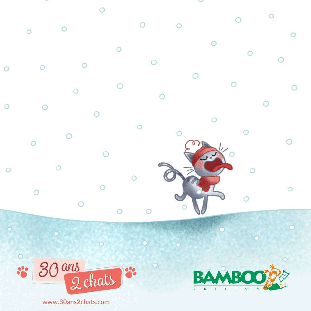 Neko, flocon de neige, sur la langue, chat dans la neige, est-ce que les chats aiment la neige, est-ce que les chats ont froid, petit chat, 30 ans 2 chats, MiniKim, Flora, Bande dessinée de chat, Les chats en BD, Bande dessinée, histoire de chat, Chat en hiver, Chat avec un bonnet, cache cou, Chat,