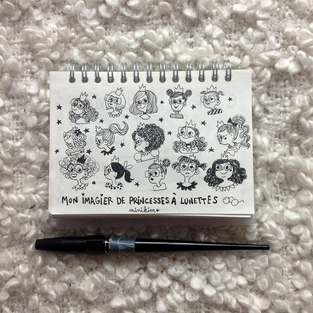 Princesses à lunettes, dessin du jour, minikim, Montréal, Canada, illustration, illustrateur, artiste, encrage, dessin à l'encre, carnet Muji, carbon ink pen, lunettes, princesse, princesses, doodle art, doodle, gribouillages