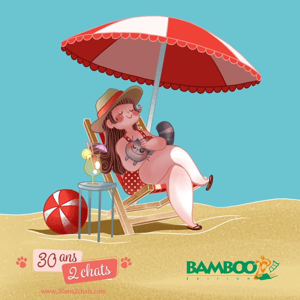 Sous le soleil, 30 ans 2 chats, Bande dessinée chats, chat, bande dessinée, editions bamboo, chat à la plage, à la plage, soleil écrasant, Minikim, dessinateru, Montréal, illustrateur, illustration, kawaii, cute, dessine du bonheur, sable chaud, dessin, parasol, parasol rouge et blanc