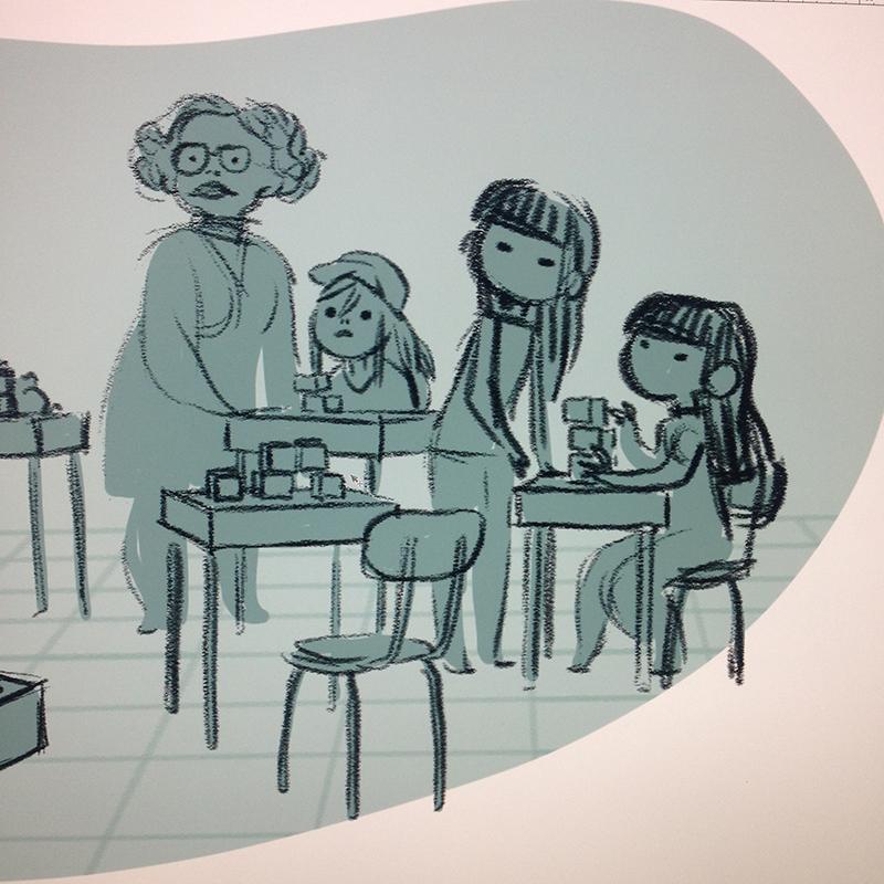 Éole sur la Lune, Minikim, jumelles, professeur, storyboard, extrait, case de BD, Minikim, Bande dessinée