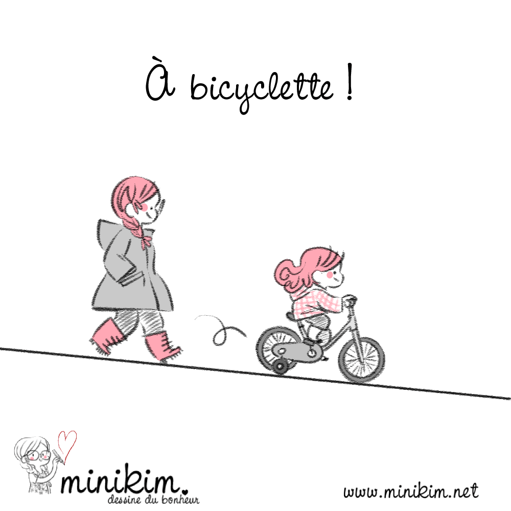 À bicyclette, vélo, apprentissage du vélo, panne d'essence, En famille, Bande dessinée, minikim, Dessin, illustration, bicyclette, bike, petites roues, Montréal, Blog BD, Rues, ruelles, Illustrateur, dessiner, adorable, Mots d'enfants