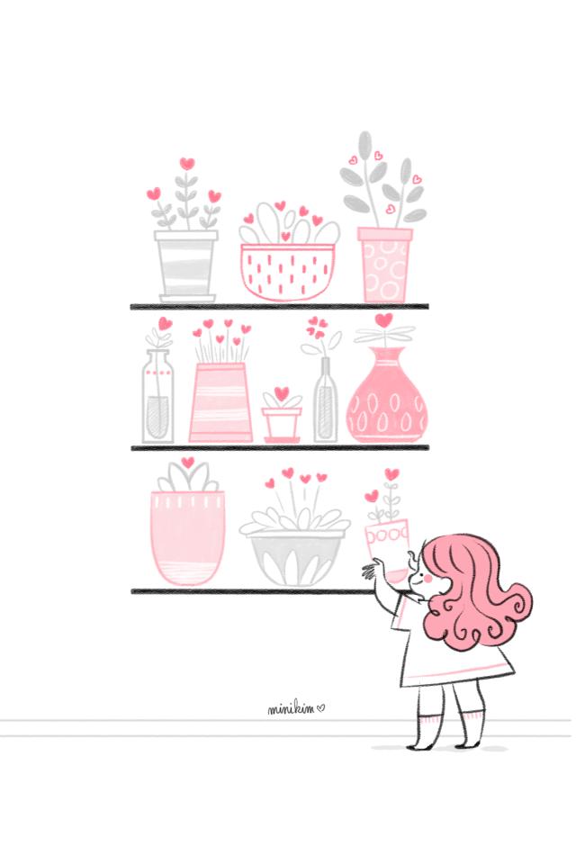 En 2019 cultivez du bonheur, Minikim, carte de voeux, illustration, cultiver l'amour, amour, bonheur, dessin.