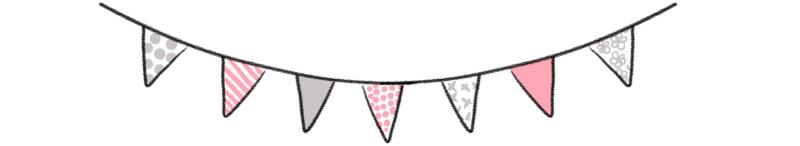 Banderole de jolis fanions aux couleurs assorties afin de décorer un article de blog