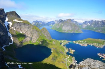 Hiking to the top of Reinebringen in lofoten islands