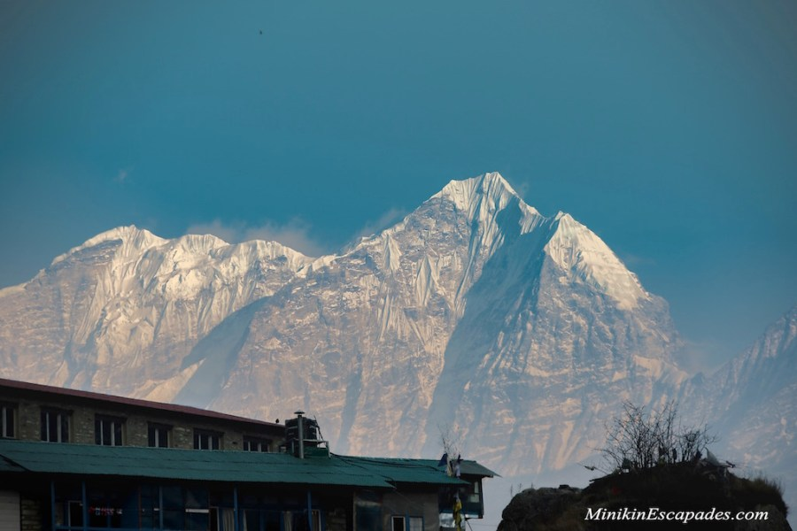 view from our teahouse in namche bazaar