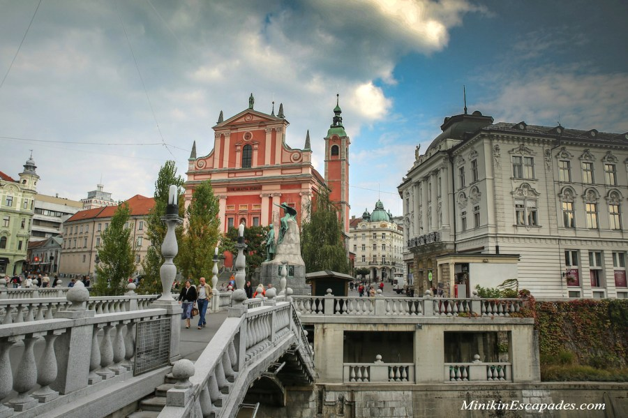 Ljubljana town church and three bridges