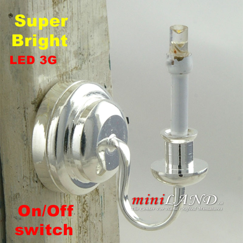 Silver Single Candle Wall Sconce Light LED Super Bright
