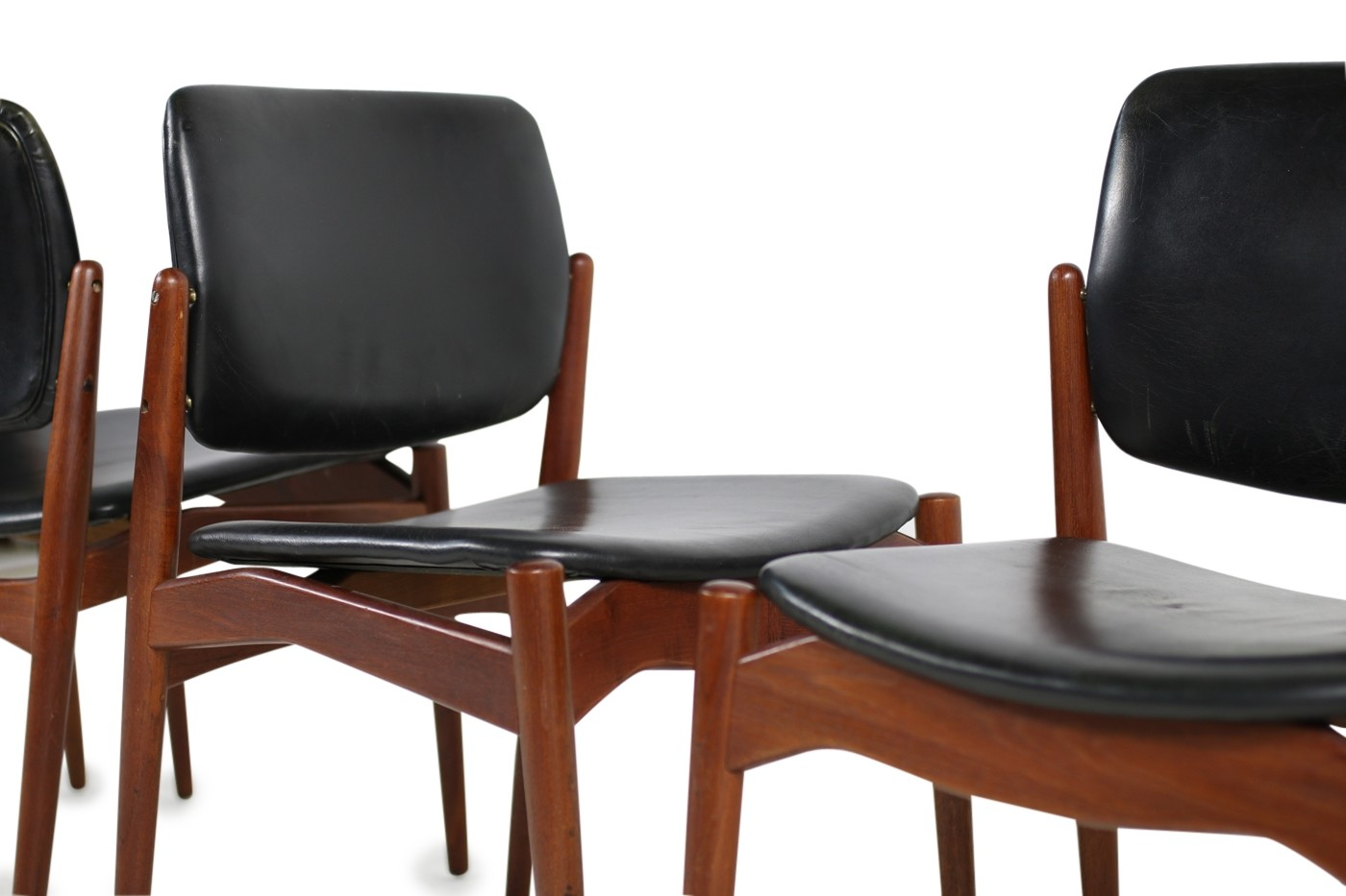 erik buck chairs royal blue chair sashes for sale set of 5 teak and leather mod 66 Ørum