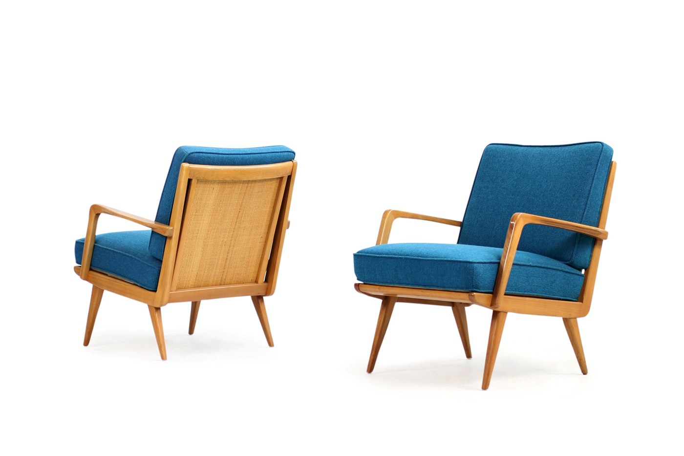 cane easy chair 2 seater round dining table and chairs pair of 1950s eugen schmidt beechwood