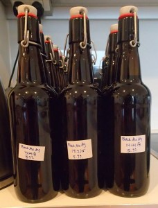 Labels on the bottled beers