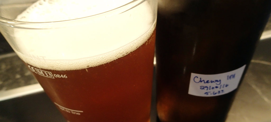 Solid head with a nice colour for the Chewy IPA