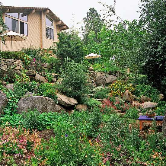 sloping garden ideas and optimal