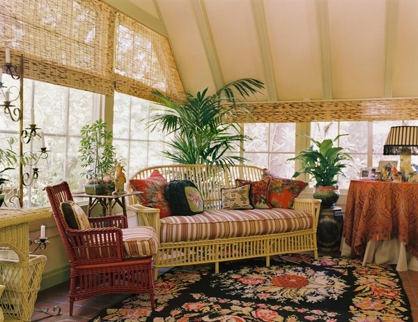 Indoor Sunroom Furniture Ideas Rustic Style Wicker Furniture