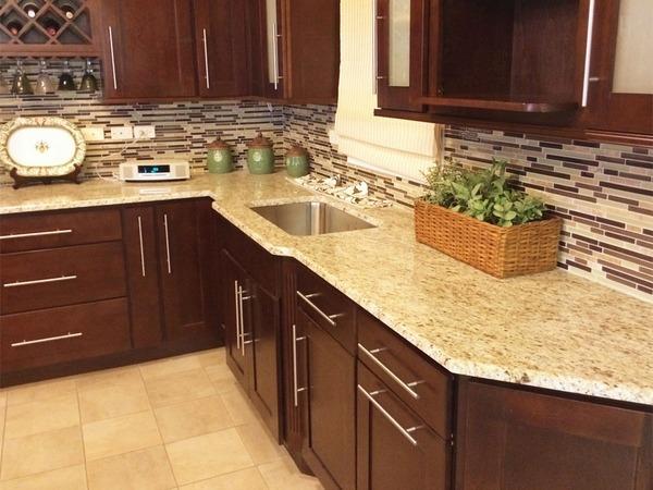 cream kitchen cabinet ideas stainless steel appliance set giallo ornamental granite countertops add elegance in the ...