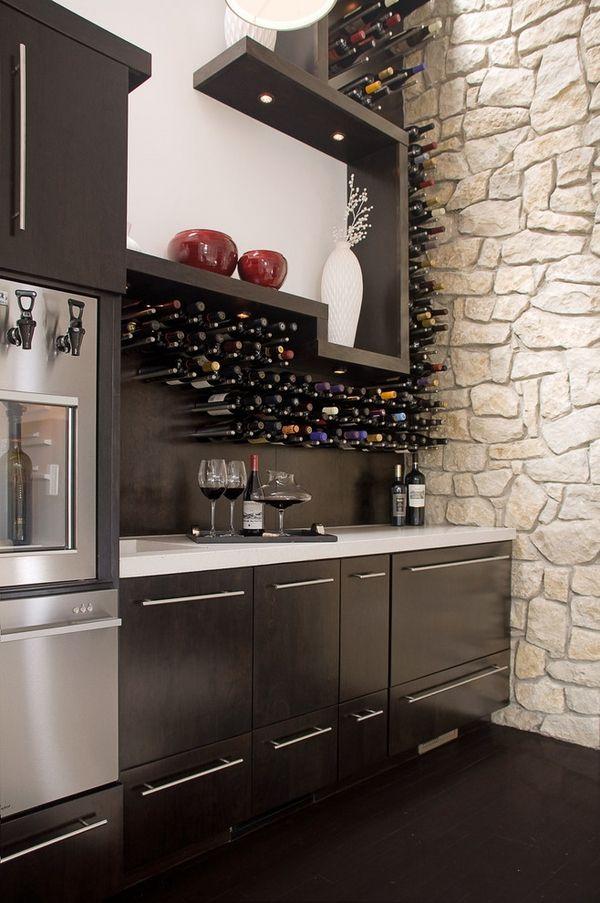 Modern wine racks an impressive decorative element in the interior