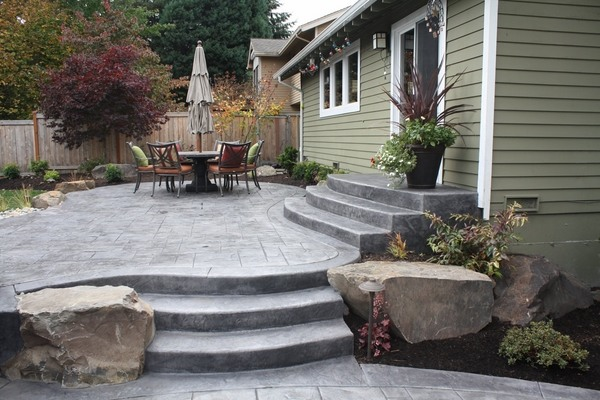 stamped concrete adds depth