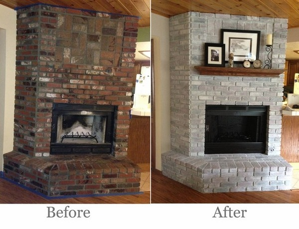 Brick fireplace makeover  before and after ideas and cool makeovers