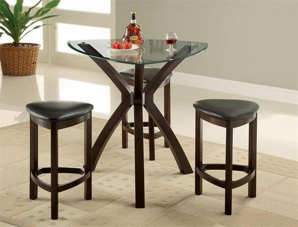 Triángulo taburetes de cuero tabla ahorro de espacio Ideas muebles