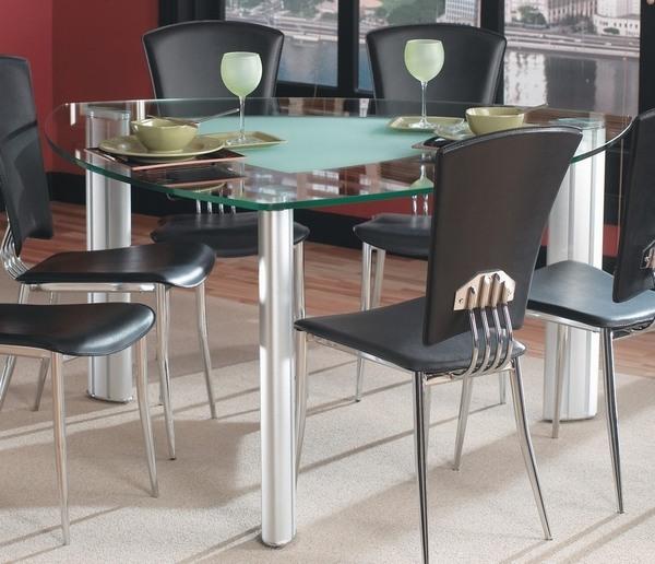 comedor moderno de acero inoxidable triangular mesa de comedor tapa de cristal