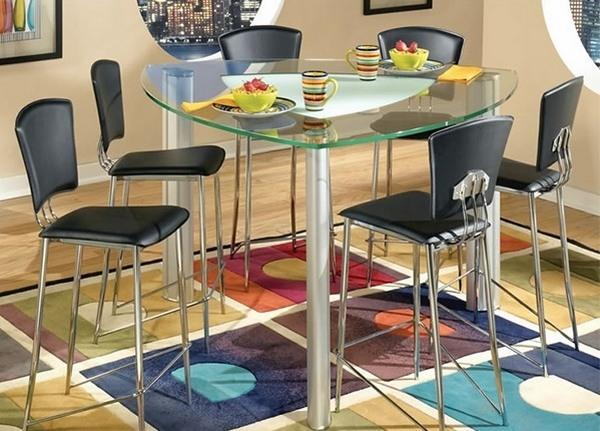 triángulo vector de cristal mesa de comedor superior de las ideas modernas de muebles de comedor