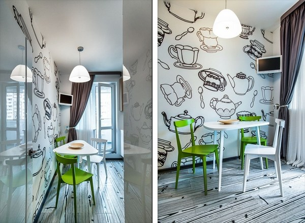 mesa de madera triangular cocina ecléctica blancas sillas verdes