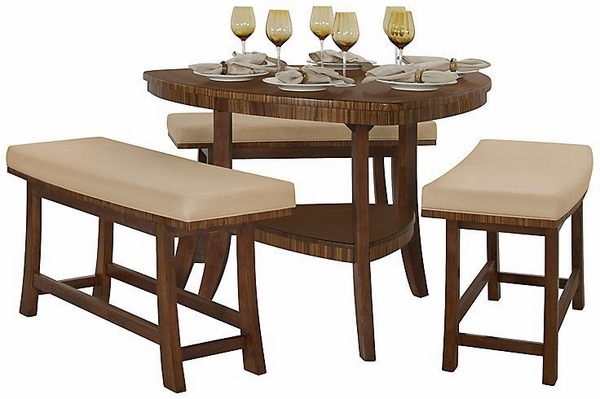 triángulo de madera mesa de comedor bancos de madera pequeñas ideas de cocina