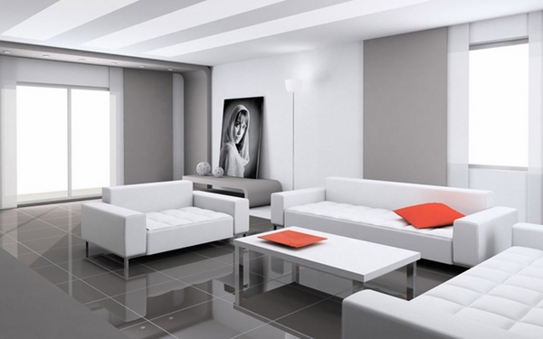 sala de estar ideas contemporáneas de diseño gris y blanco gris paredes piso muebles blancos