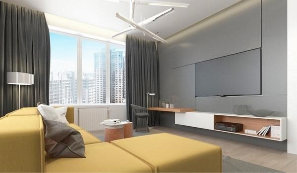 sofá seccional salón ideas de diseño amarillo y gris salón paredes grises de color amarillo
