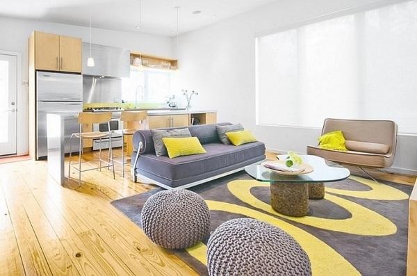 Sala ideas amarillo y gris planta abierta muebles gris Sala ideas