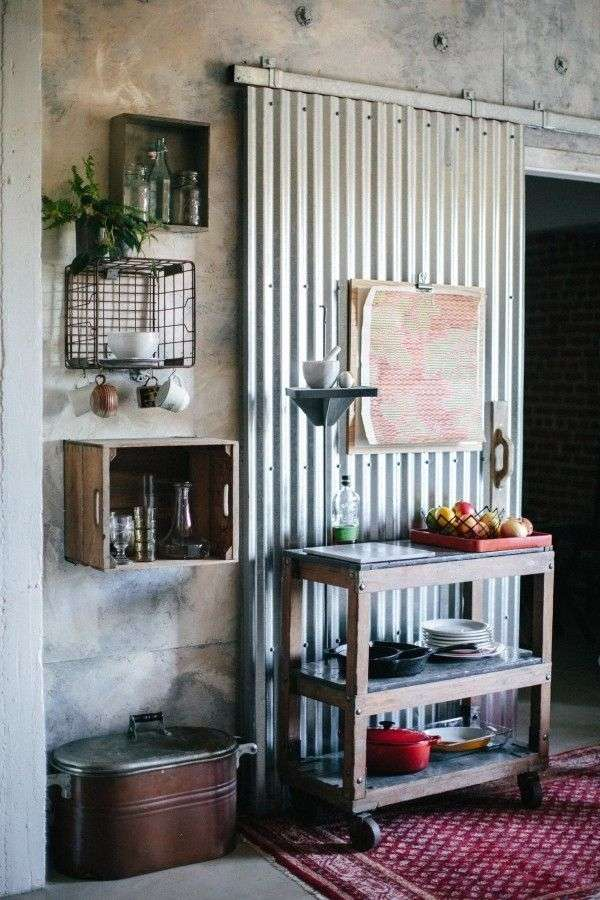 Industrial doors  an accent in modern home interior design