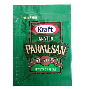 Kraft Parmesan Cheese F01-0700302-1100 - 6 gram 100% grated Parmesan cheese in individual size packet.