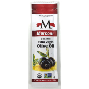 Marconi Organic Extra Virgin Olive Oil - packet F01-0851202-1100 - 1/2 oz Organic Extra Virgin Olive Oil in individual size packet.