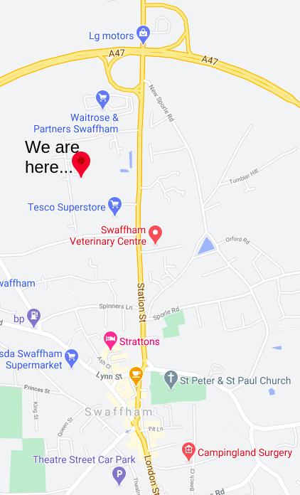 Location map for Swaffham UK...