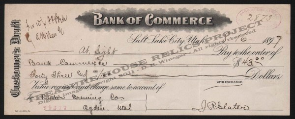 Commerce Bank Cashier's Check