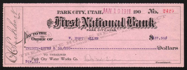 First National Bank Cashier's Check