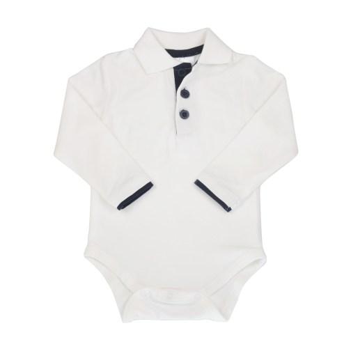 Skjortebody - hvit med mørkeblå
