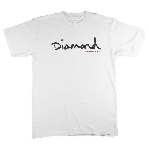 diamond og script tee white