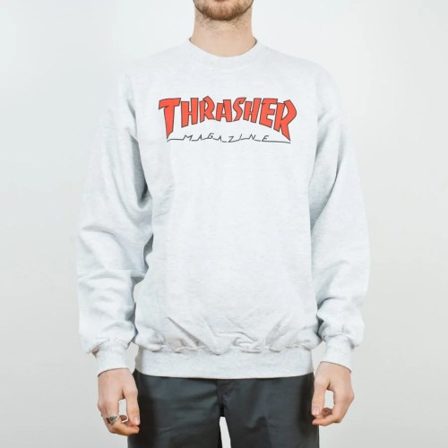 THRASHER OUTLINED CREWNECK ASH GRAY