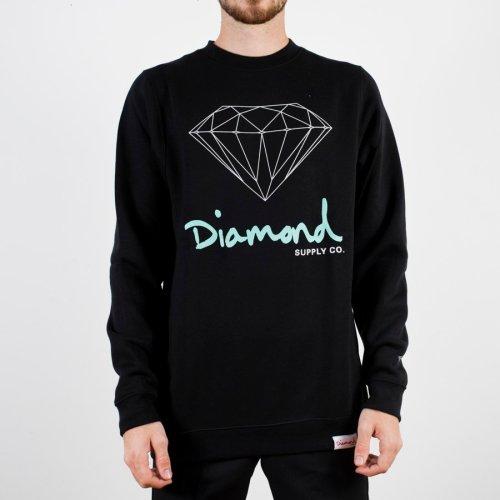 DIAMOND OG SIGN SCRIPT CREWNECK BLACK