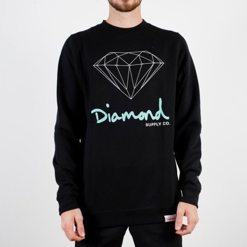 DIAMOND OG SIGN SCRIPT CREWNECK BLACK
