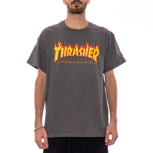 THRASHER FLAME TEE CHARCOAL