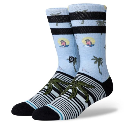 STANCE ALOHA MONKEY CREW LIGHT BLUE