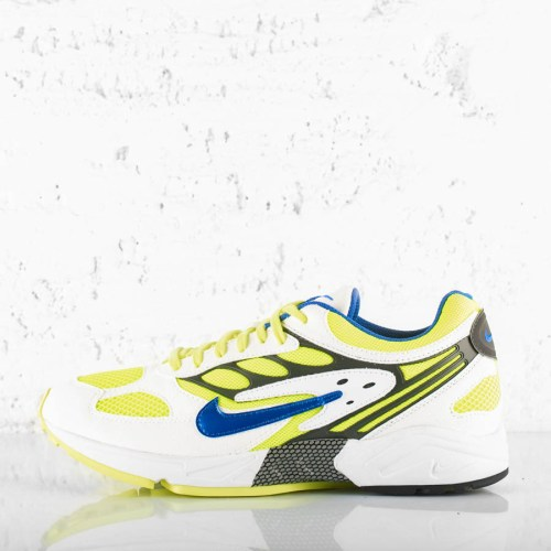 NIKE AIR GHOST RACER WHITE HYPER BLUE NEON YELLOW
