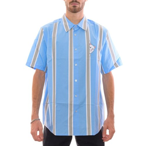RIPNDIP PEEKING NERM 2.0 STRIPED BUTTON UP SHIRT BLUE