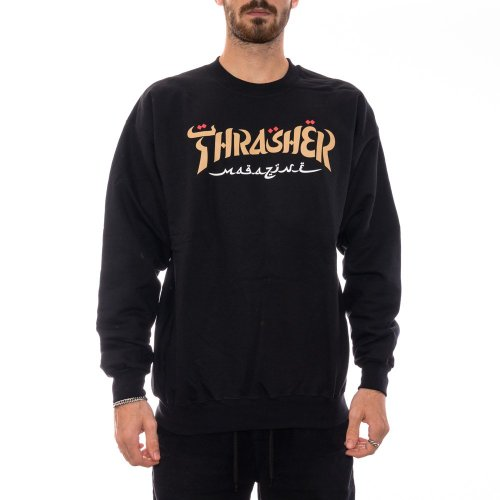 THRASHER CALLIGRAPHY CREWNECK BLACK