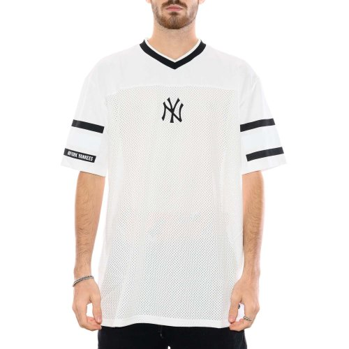 NEW ERA NEW YORK YANKEES JAQUARD OVERSIZED MESH TEE WHITE