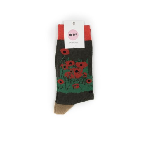 ODE TO SOCKS RED POPPIES BROWN
