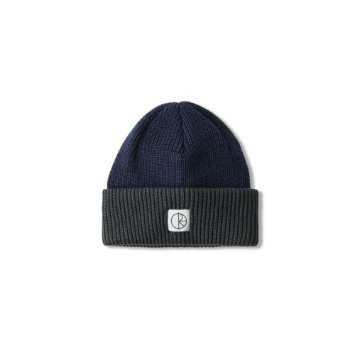 POLAR DOUBLE FOLD MERINO BEANIE NAVY GREY
